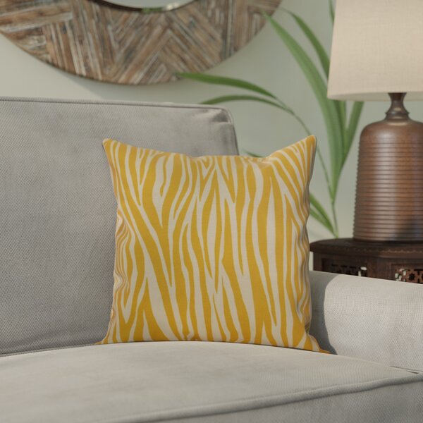 Kam Wood Striped Geometric Outdoor Throw Pillow by Bloomsbury Market