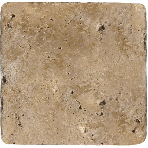 Travertine 4 x 4 Tile in Ancient Tumbled Mocha by Emser Tile