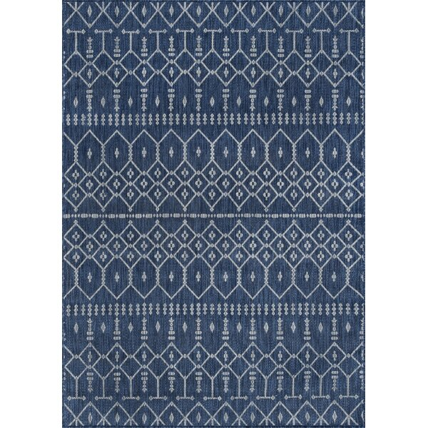 Speers Contemporary Geometric Navy Indoor/Outdoor Area Rug By Bungalow Rose
