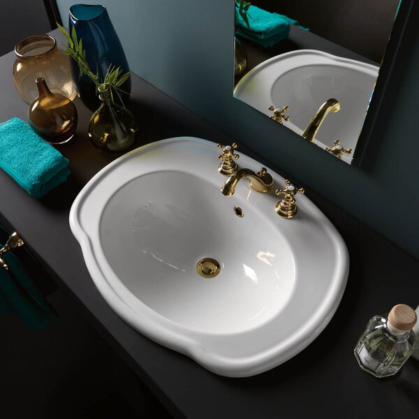 Contea Ceramic Specialty Drop-In Bathroom Sink with Overflow