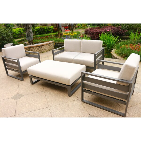Hearne 4 Piece Sunbrella Sofa Seating Group with Cushions by Orren Ellis
