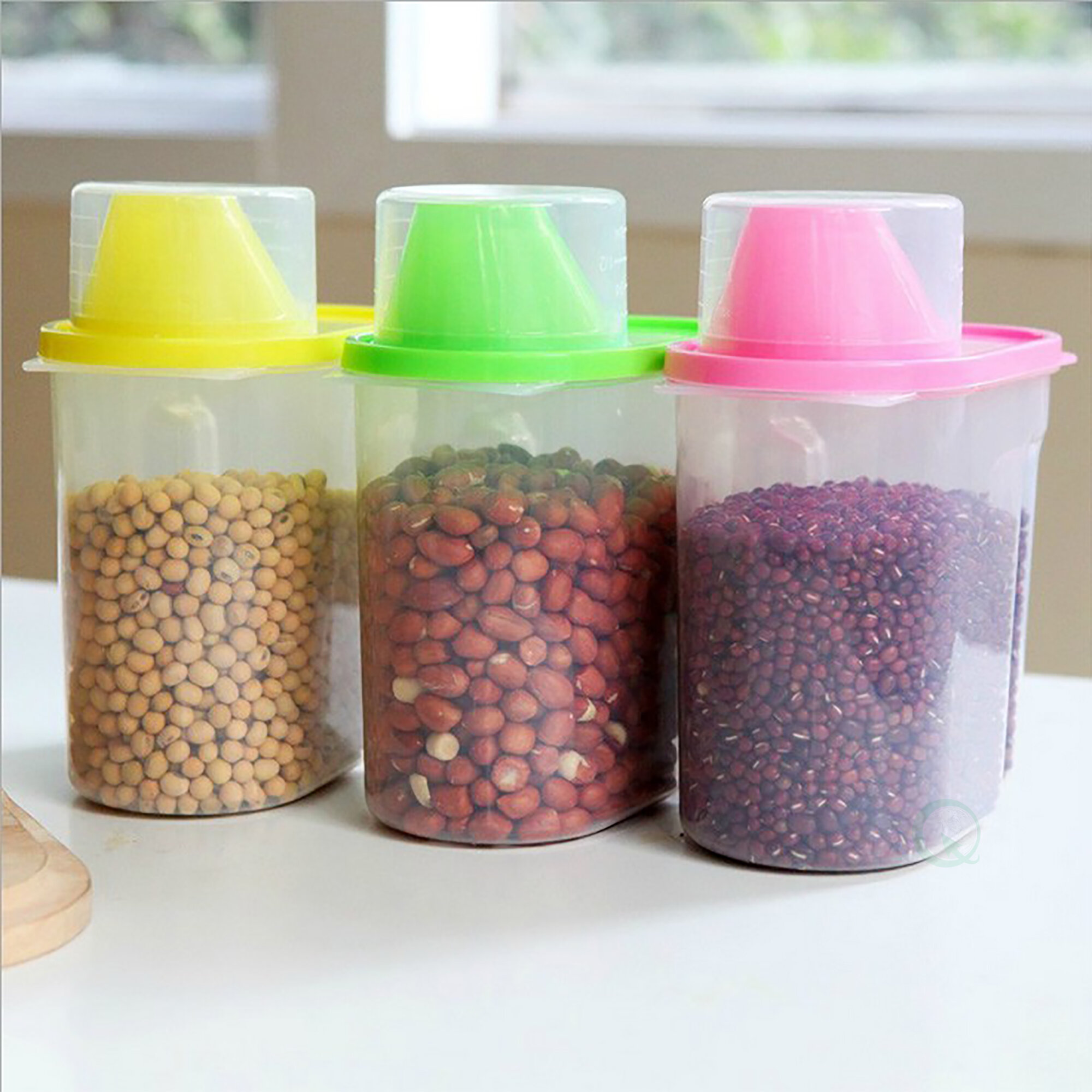 Basicwise Small Plastic Kitchen Saver 3 Container Food Storage Set