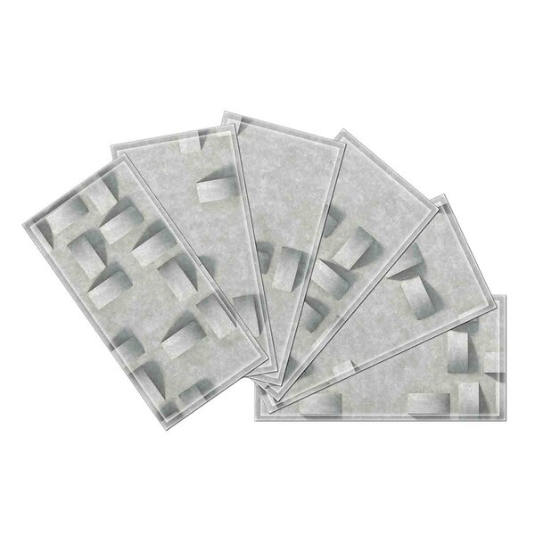 Custom 3 x 6 Beveled Glass Subway Tile in Gray by Upscale Designs by EMA