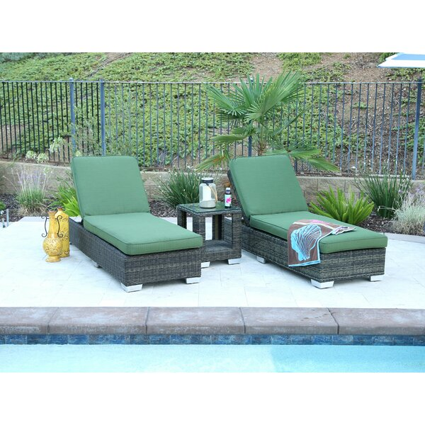 Deguzman Double Sun Lounger Set Group with Cushion with Table by Brayden Studio