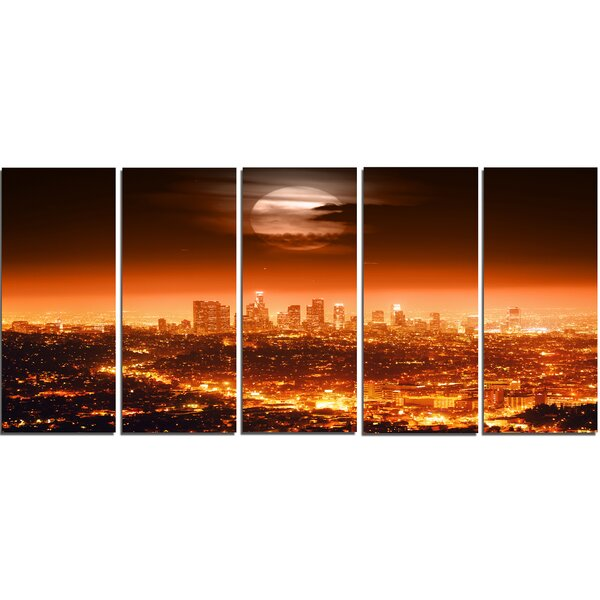 Dramatic Full Moon over Los Angeles 5 Piece Wall Art on Wrapped Canvas Set by Design Art