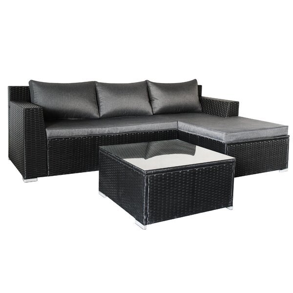 Spillers Outdoor 3 Piece Sofa Seating Group with Cushions by Ivy Bronx