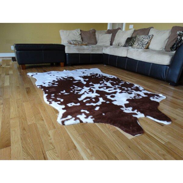 Chanler Brown/White Cow Fur Area Rug by Bloomsbury Market