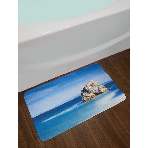 Italian Big Formless Rock Seascape and Sky European Secret Paradise Artwork Non-Slip Plush Bath Rug by East Urban Home