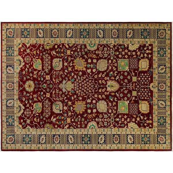 Annalee Hand-Knotted Rectangle Wool Red/Blue Area Rug