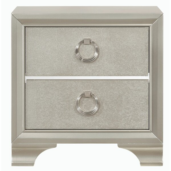 Toxey Wooden 2 Drawer Nightstand by House of Hampton