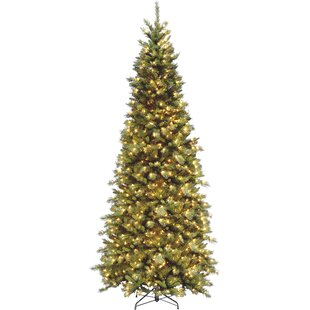 fir 9 green slim artificial christmas tree with 700 pre lit clear lights with stand - Skinny Artificial Christmas Trees