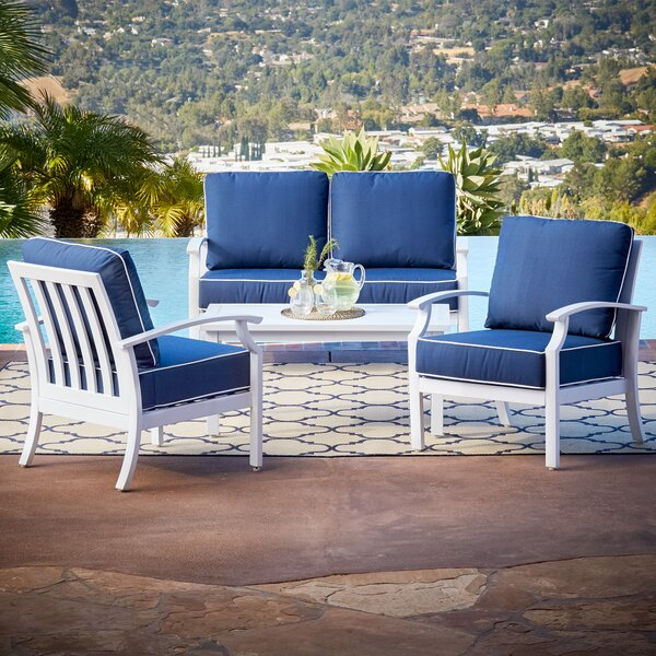 Yandel Bridgeport 4 Piece Sofa Seating Group Set with Cushions by Darby Home Co Darby Home Co