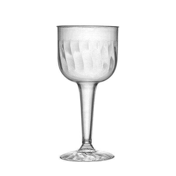 Flairware Rippled Disposable Plastic 8 oz. Wine Goblet (96/Case) by Fineline Settings, Inc