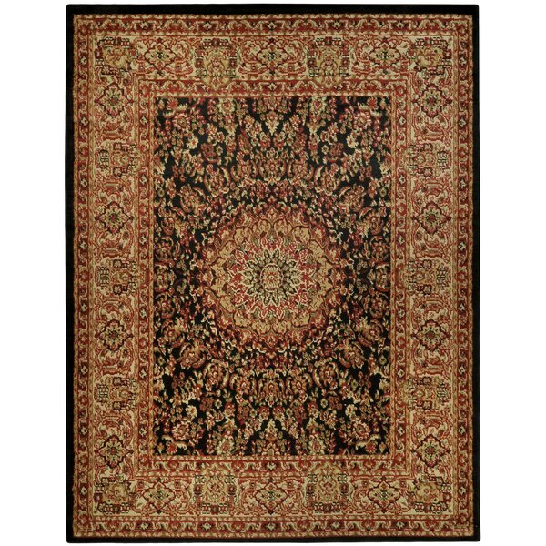 Wotring Medallion Traditional Black/Ivory Area Rug by Bloomsbury Market
