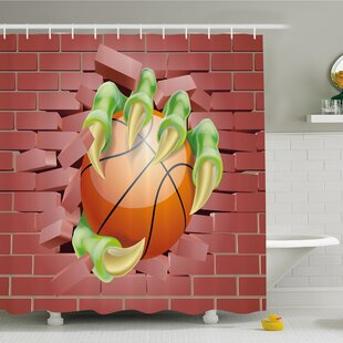 Rustic Home Claw Beast Monster Hand out Holds Basketball Ball through Brick Wall Paint Shower Curtain Set By Ambesonne