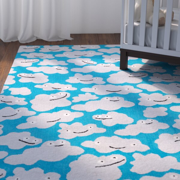 Daisy Sky Puffy Machine Woven Azure Area Rug by Viv + Rae