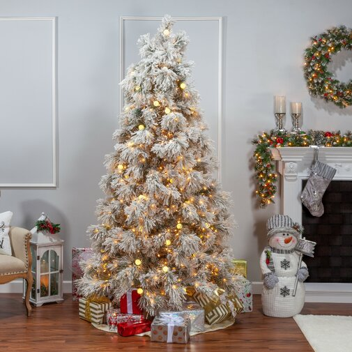 Heavy Flocked Arctic 7.5' Silver Pine Artificial Christmas Tree