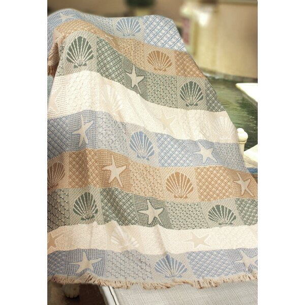 Seashells by the Seashore Cotton Throw by Manual Woodworkers & Weavers