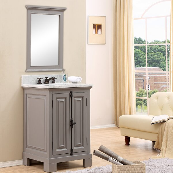 Nico 24 W Single Bathroom Vanity Set with Mirror and Faucet by Alcott Hill