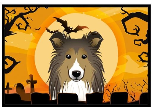 Halloween Sheltie Doormat by Caroline's Treasures