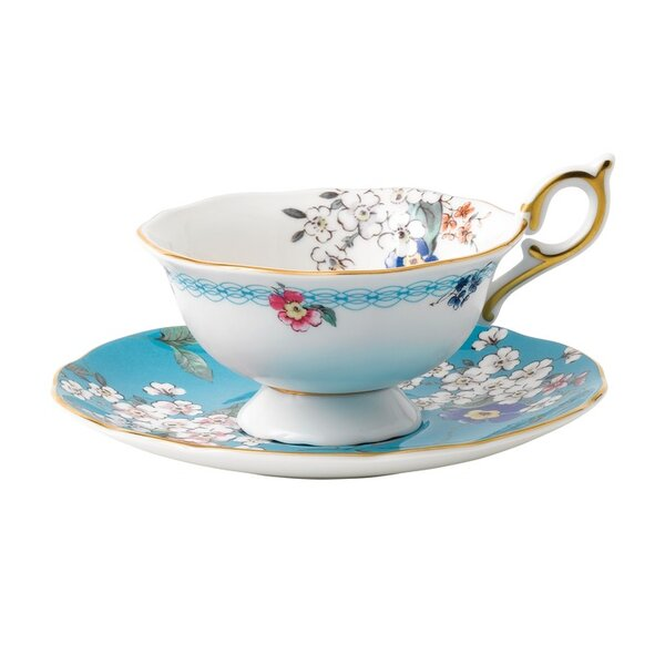 Wonderlust Apple Blossom 2 Piece Bone China Teacup and Saucer Set by Wedgwood