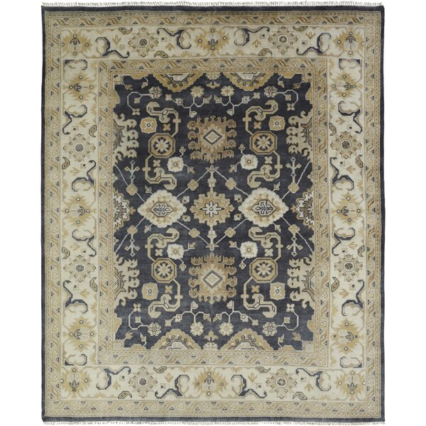 Ojas Hand Knotted Wool Black/Ivory Area Rug by Darby Home Co