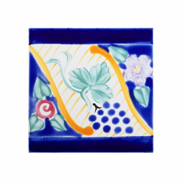Mediterranean 6 x 6 Ceramic Florence Border Decorative Tile in Blue by Casablanca Market