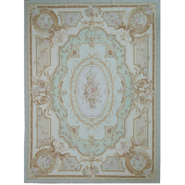Aubusson Hand-Woven Wool Beige/Green/Blue Area Rug by Pasargad
