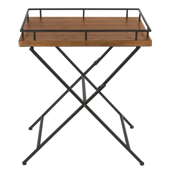 Jordan Wood and Metal Pop up Tray Table by Gracie Oaks
