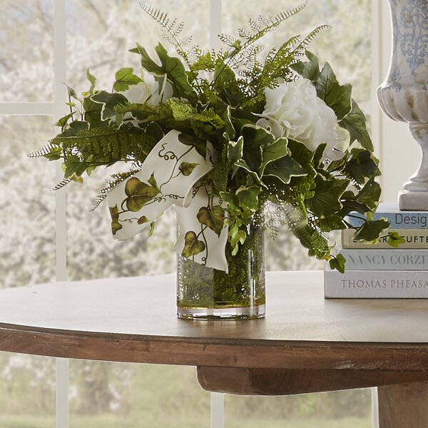 Faux English Ivy Hydrangea Centerpiece in Vase by Creative Displays, Inc.