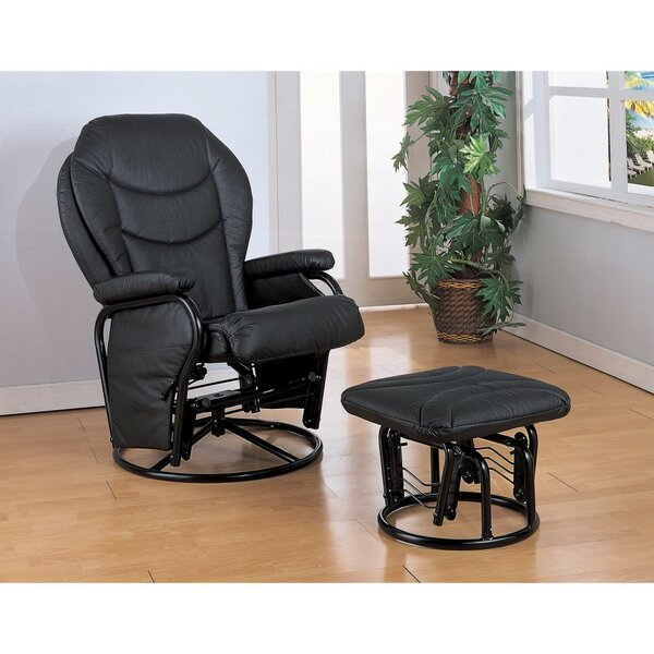 Tapp Leather Manual Glider Recliner with Ottoman by Latitude Run