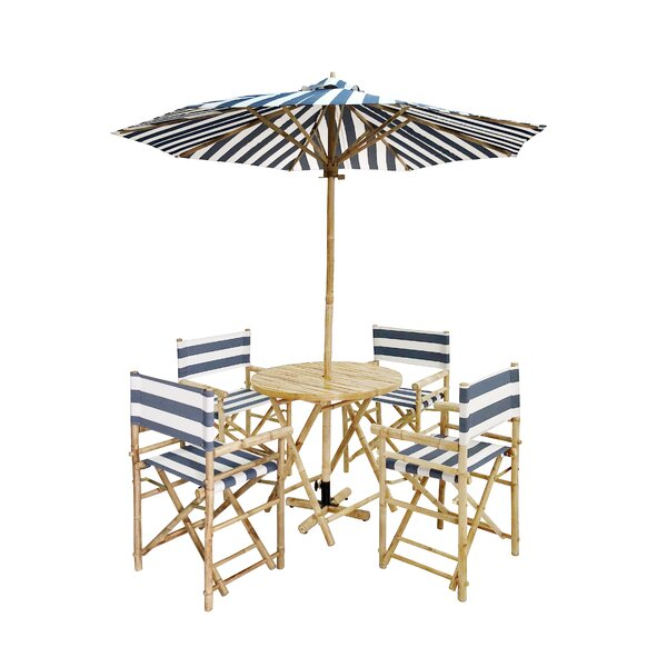 Atchley 5 Piece Dining Set with Umbrella by Breakwater Bay
