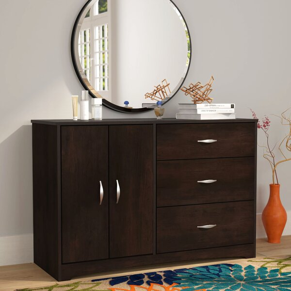 Modern  Ryker 3 Drawer Combo Dresser By Andover Mills Purchase
