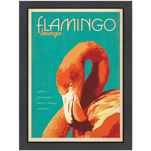 Flamingo Lounge Framed Graphic Art by Americanflat