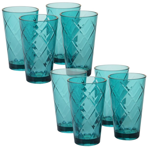 Diamond Acrylic 20 Oz. Water/Juice Glass (Set of 8) by Certified International