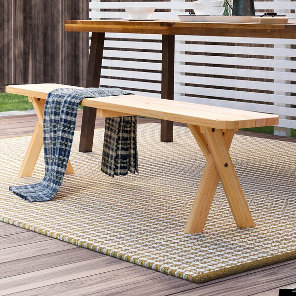 Kennicott Crossleg Wood Bench by August Grove