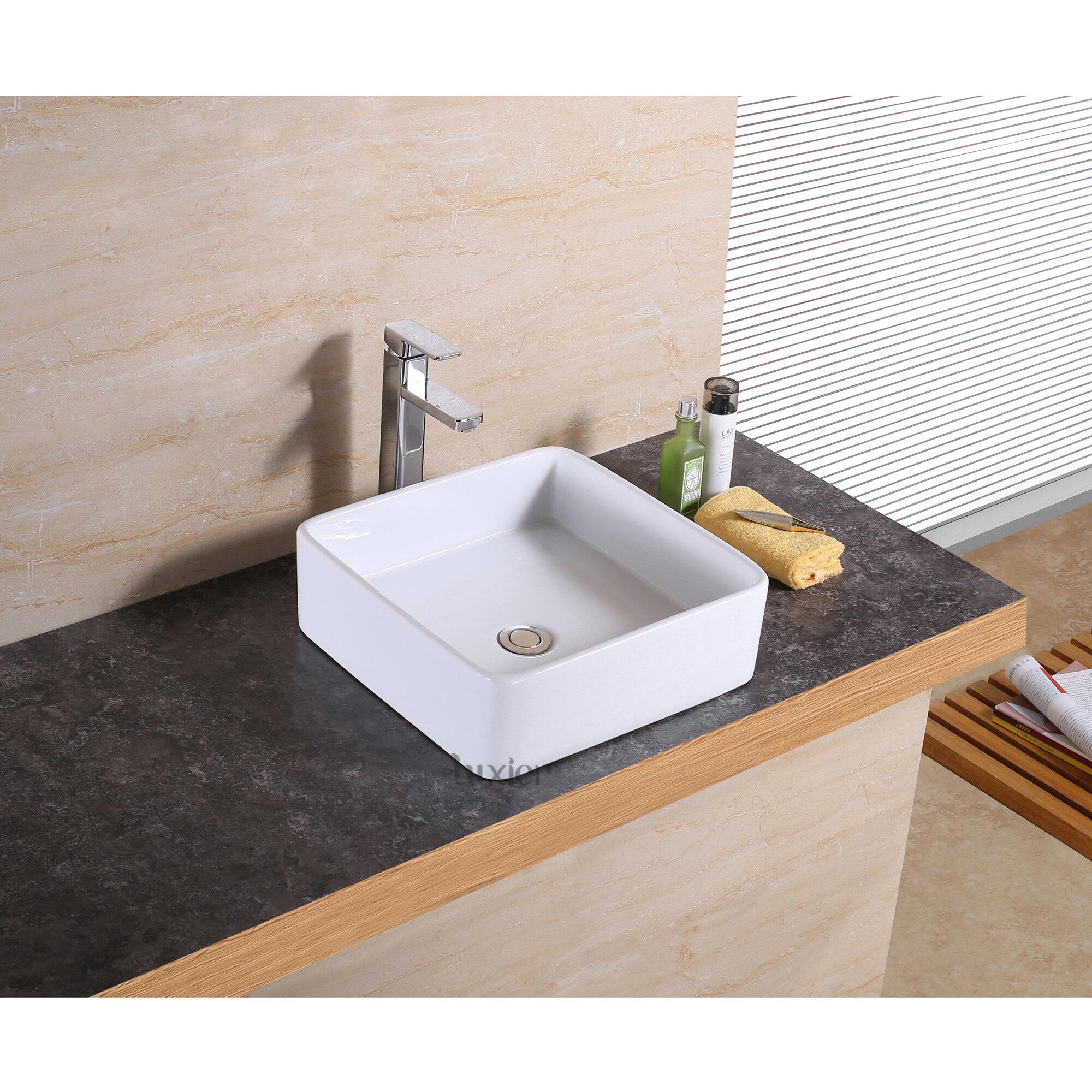 Luxier Vanity Art Basin Ceramic Square Vessel Bathroom Sink Reviews Wayfair