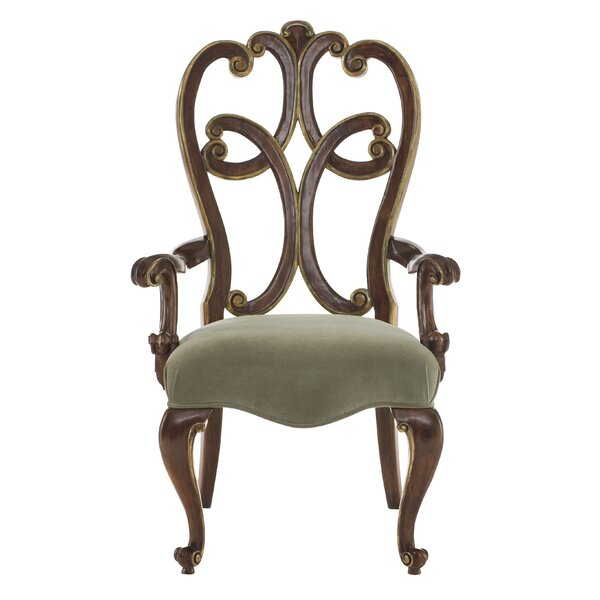 Villa Medici Upholstered Queen Anne Back Arm Chair in Brown by Bernhardt Bernhardt