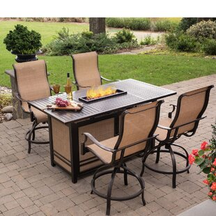 Bucci 5 Pieces High-Dining Set with Firepit By Fleur De Lis Living