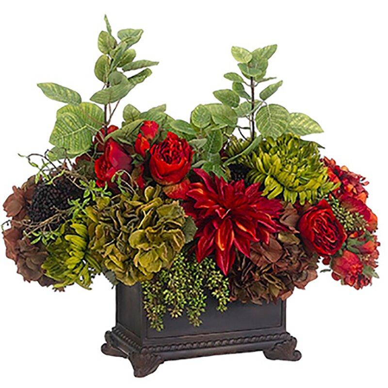 Silksareforever 21 Hx25 W Rose Hydrangea Silk Flower Arrangement Brick Olive Green Wayfair