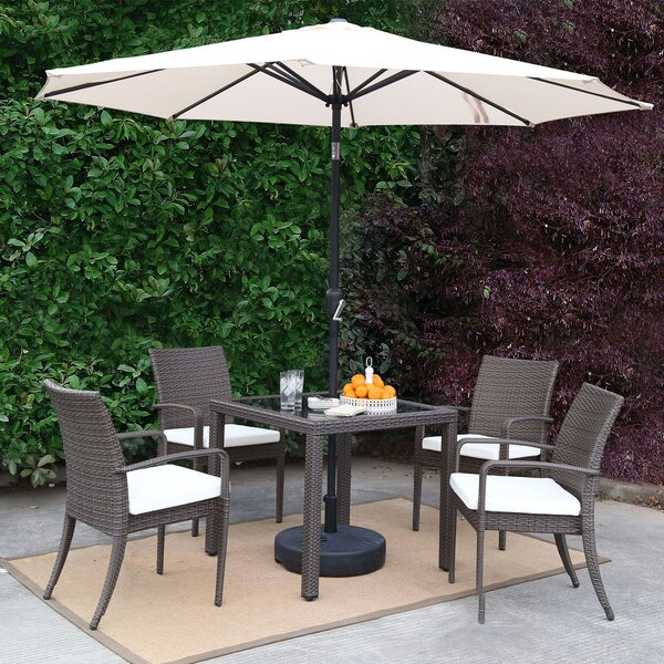 Market Wicker Outdoor Patio 7 Piece Dining Set with Umbrella by Baner Garden