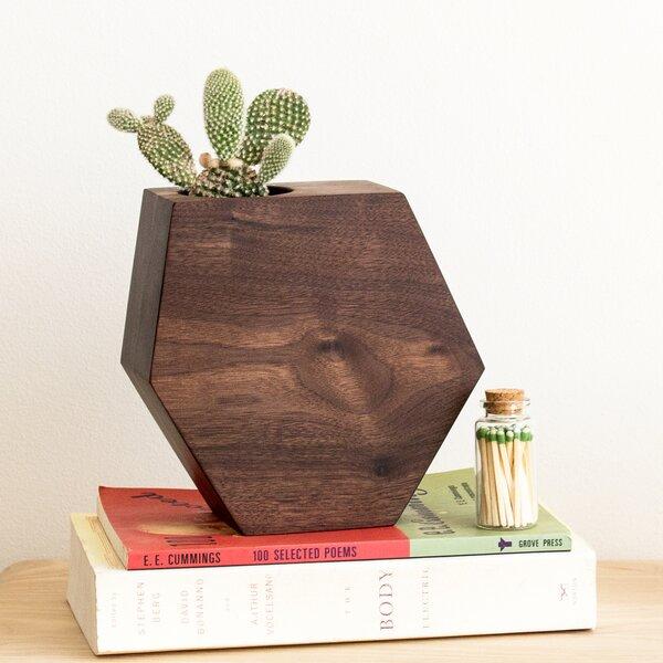 Walnut Hexagon Succulent Walnut Pot Planter by Boyce Studio
