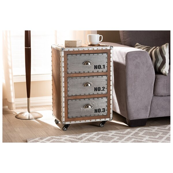 Kamron Wheeled 3 Drawer Nightstand by Williston Forge