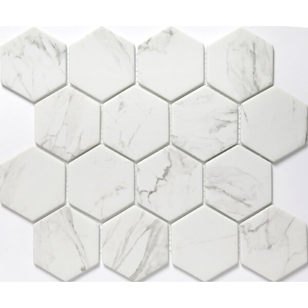 Echo Hex 3 x 3 Glass Mosaic Tile in Calacata by Emser Tile