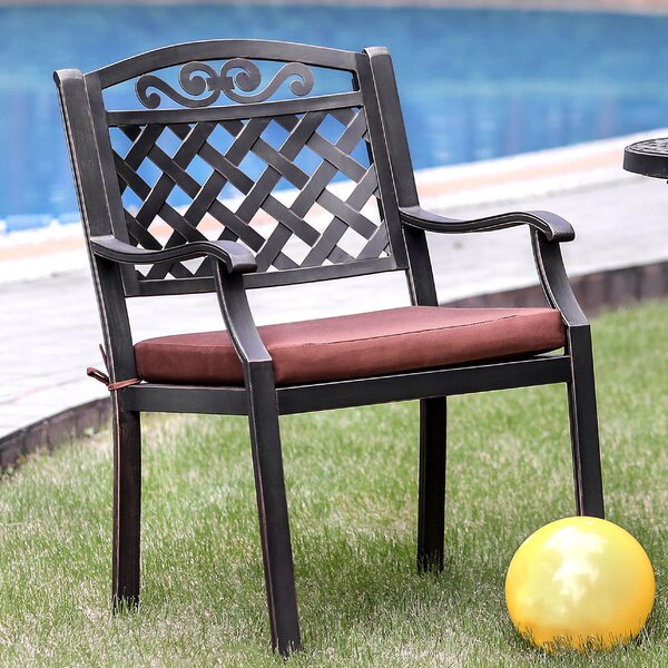 Simsbury Patio Dining Chair with Cushion (Set of 2) by Alcott Hill Alcott Hill