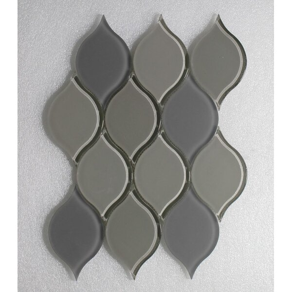 Tear Drop Latte Clear Frosted Wall 12 x 10.75 Glass Mosaic Tile in Gray by Seven Seas
