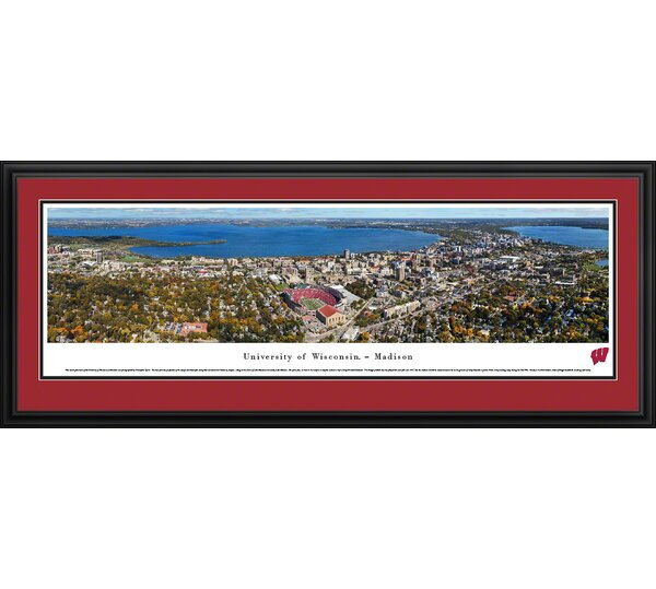 NCAA Wisconsin, U of - Aeria - Football by James Blakeway Framed Photographic Print by Blakeway Worldwide Panoramas, Inc