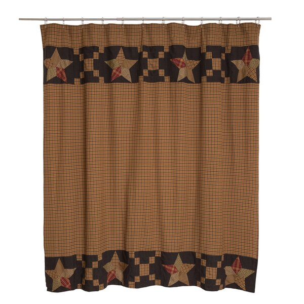 Crosby Patchwork Star Border Cotton Shower Curtain by August Grove
