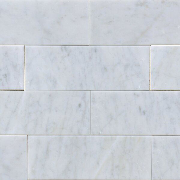 3 x 8 Marble Subway Tile in White Carrara by The Bella Collection