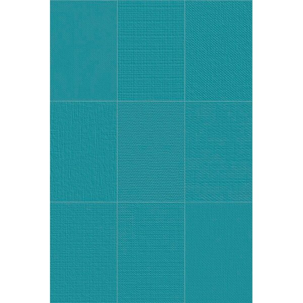 Makar Italian 4.75 x 7 Ceramic Fabric Look/Field Tile in Aqua by The Bella Collection